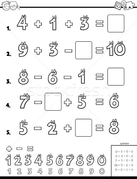 calculation educational worksheet for children vector illustration ...