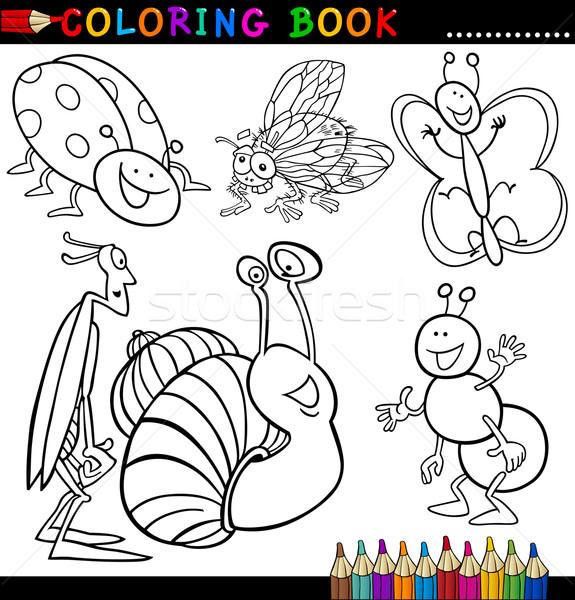 Haşarat Böcek Boyama Kitabı Sayfa Karikatür örnek