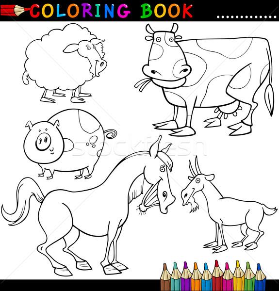 Ciftlik Hayvanlari Boyama Kitabi Sayfa Karikatur Ornek