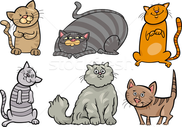 cute cats set cartoon illustration Stock photo © izakowski