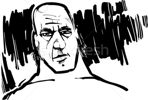 воин рисунок иллюстрация древних книга лице Сток-фото © izakowski