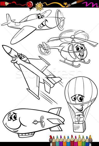 Zdjęcia stock: Cartoon · samolotów · zestaw · kolorowanka · strona · ilustracja