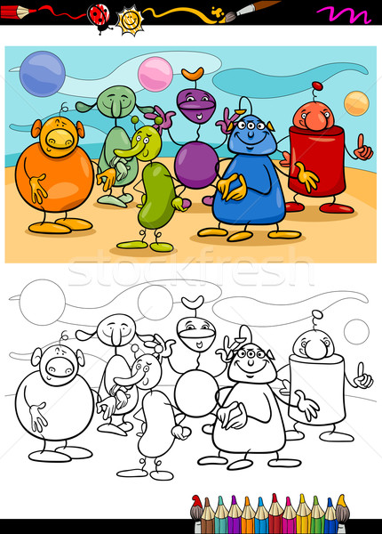 funny aliens cartoon coloring book Stock photo © izakowski