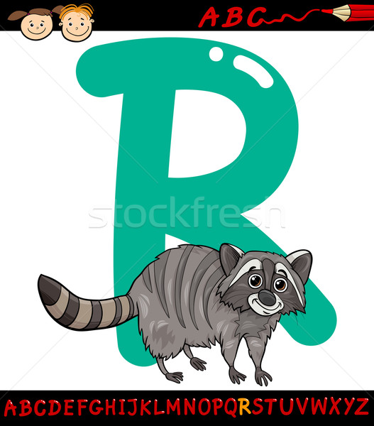 letter r for raccoon cartoon illustration Stock photo © izakowski