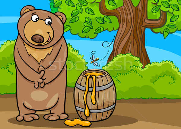 bear with honey cartoon illustration Stock photo © izakowski