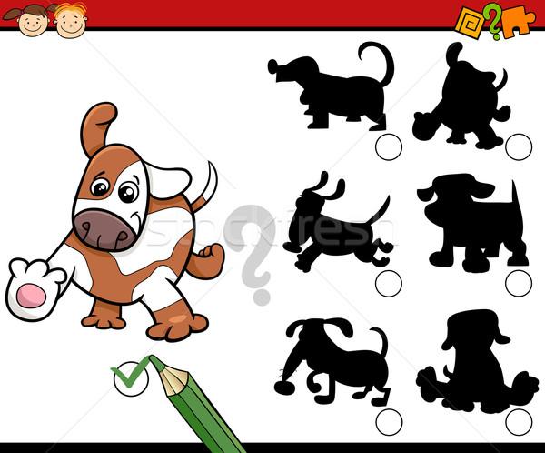 Ombre compito cartoon cani illustrazione educativo Foto d'archivio © izakowski
