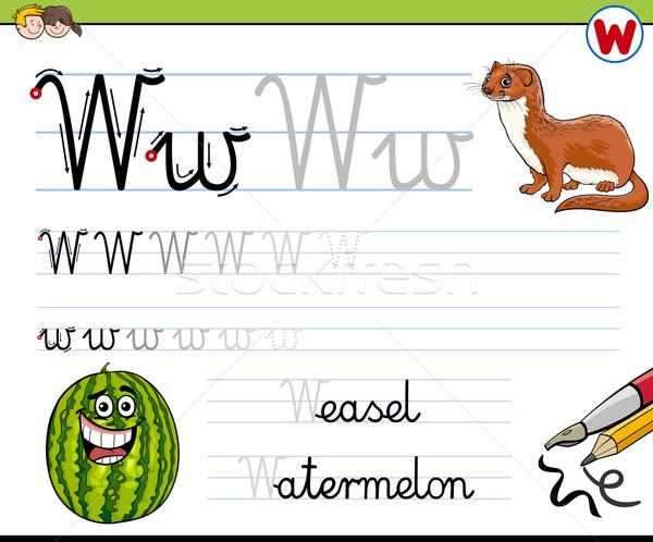 Pisać list w cartoon ilustracja piśmie umiejętności Zdjęcia stock © izakowski