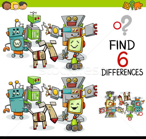 Verschil spel robots cartoon illustratie bevinding Stockfoto © izakowski