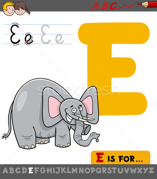 letter e with cartoon elephant Stock photo © izakowski