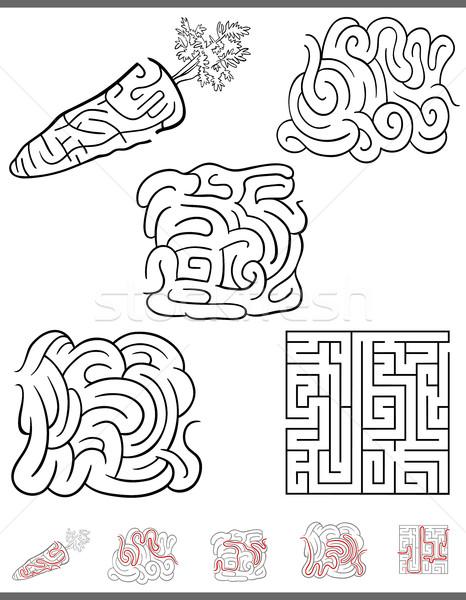 Labirintus szabadidő játék szett illusztráció feketefehér Stock fotó © izakowski