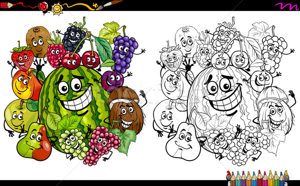 fruit characters coloring page Stock photo © izakowski