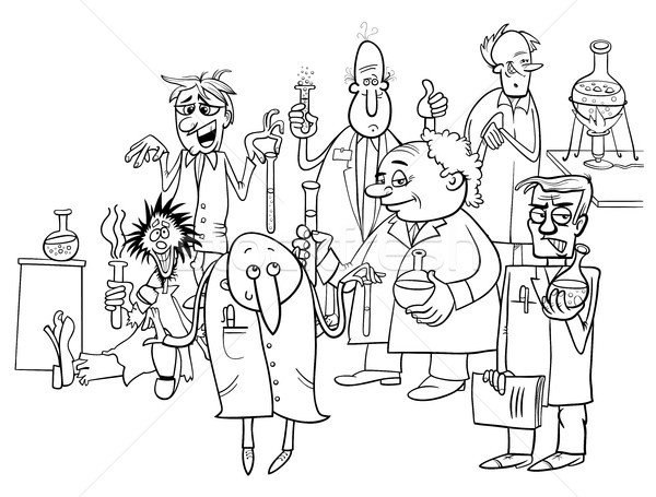 Stock photo: cartoon scientists characters coloring book