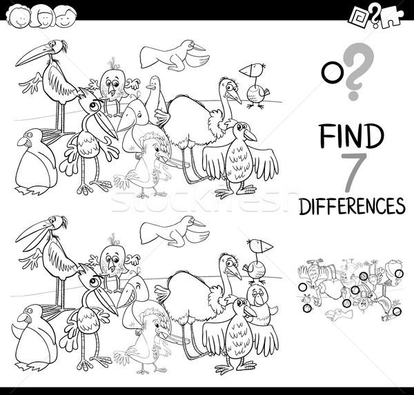 Local diferença aves livro para colorir preto e branco desenho animado Foto stock © izakowski