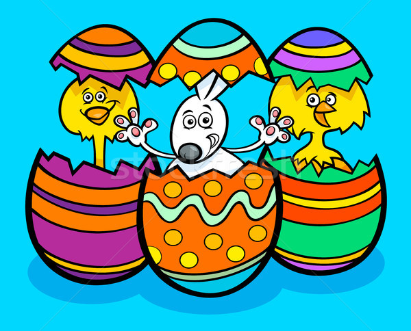 Easter bunny and chickens cartoon illustration Stock photo © izakowski
