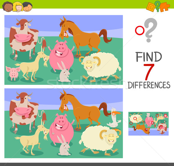 find differences game with farm animals Stock photo © izakowski