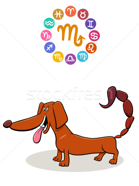 Scorpio Zodiac sign with cartoon dog Stock photo © izakowski