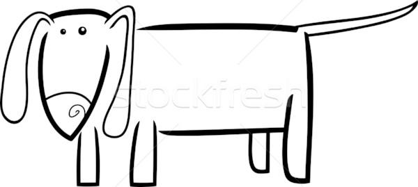 Rajz firka kutya illusztráció kutyakölyök kifestőkönyv Stock fotó © izakowski