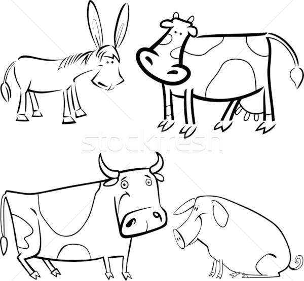 farm animals set for coloring Stock photo © izakowski