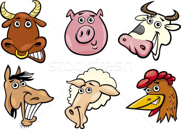 Cartoon farm animals heads set Stock photo © izakowski