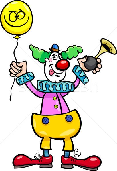 funny clown cartoon illustration Stock photo © izakowski