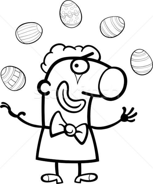 Cartoon clown giocoleria easter eggs bianco nero illustrazione Foto d'archivio © izakowski