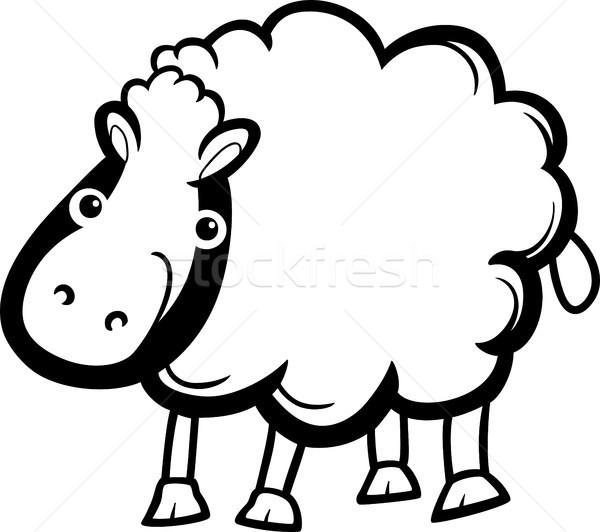 sheep farm animal cartoon for coloring Stock photo © izakowski