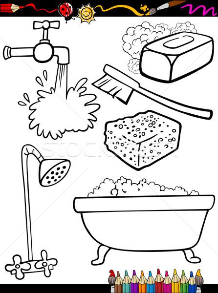 Karikatür Temizlik Nesneler Sayfa Boyama Kitabı örnek