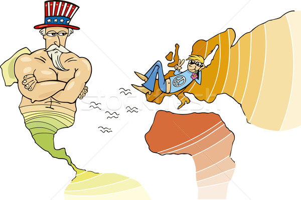 USA európai szövetség metafora illusztráció vicces Stock fotó © izakowski