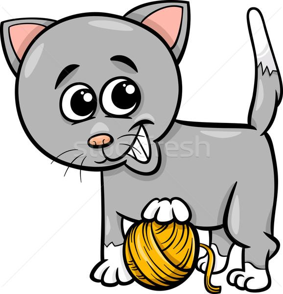 Stok fotoğraf: Kedi · iplik · karikatür · örnek · sevimli · oynama