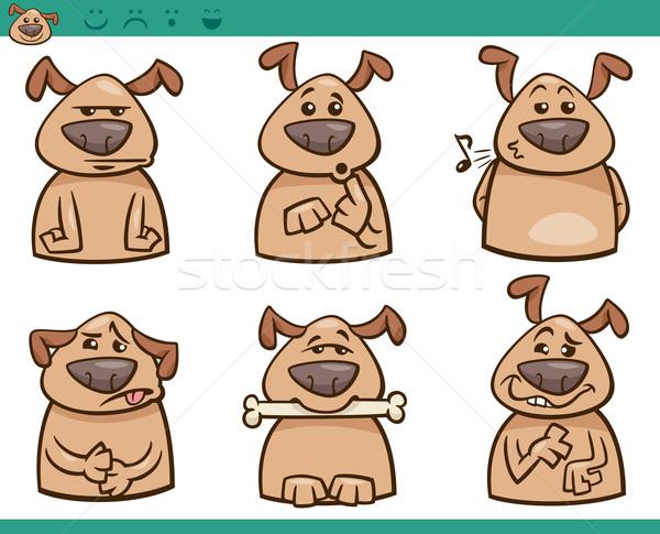 dog emotions cartoon illustration set Stock photo © izakowski
