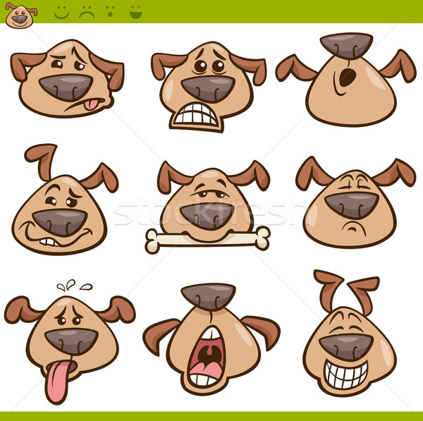 dog emoticons cartoon illustration set Stock photo © izakowski