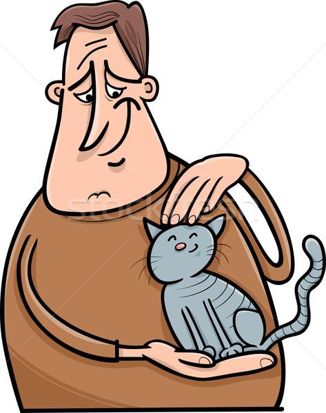man and cat cartoon illustration Stock photo © izakowski