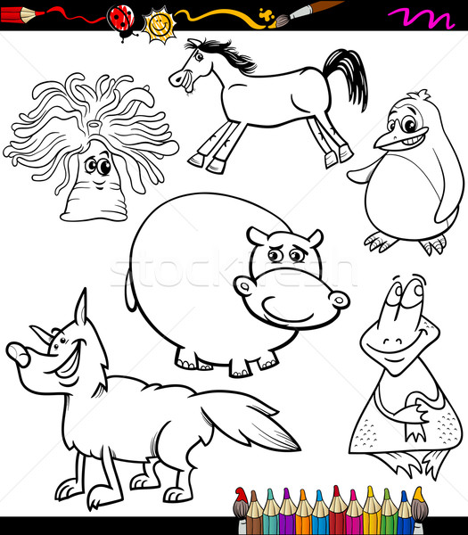 Zwierząt zestaw cartoon kolorowanka strona ilustracja Zdjęcia stock © izakowski