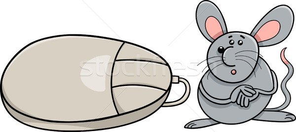 computer mouse and real rodent cartoon Stock photo © izakowski