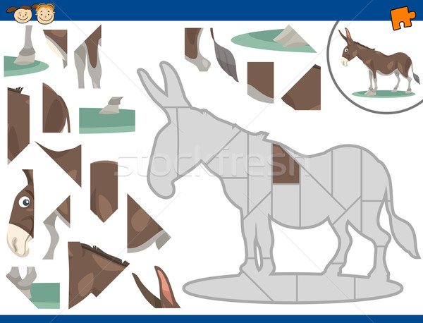 cartoon donkey jigsaw puzzle task Stock photo © izakowski