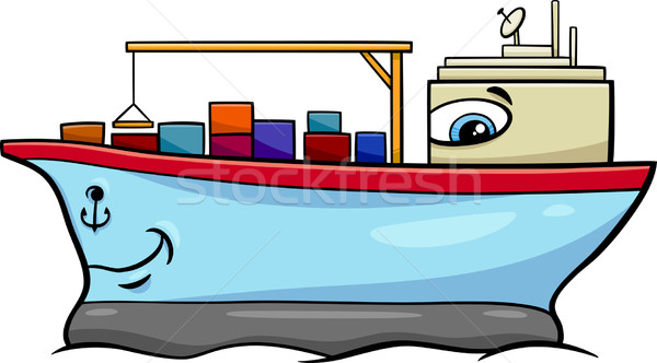 Containerschip cartoon illustratie vervoer karakter Stockfoto © izakowski