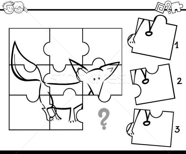 Foto d'archivio: Puzzle · attività · compito · bianco · nero · cartoon · illustrazione