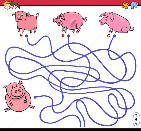 út labirintus játék malacok rajz illusztráció Stock fotó © izakowski