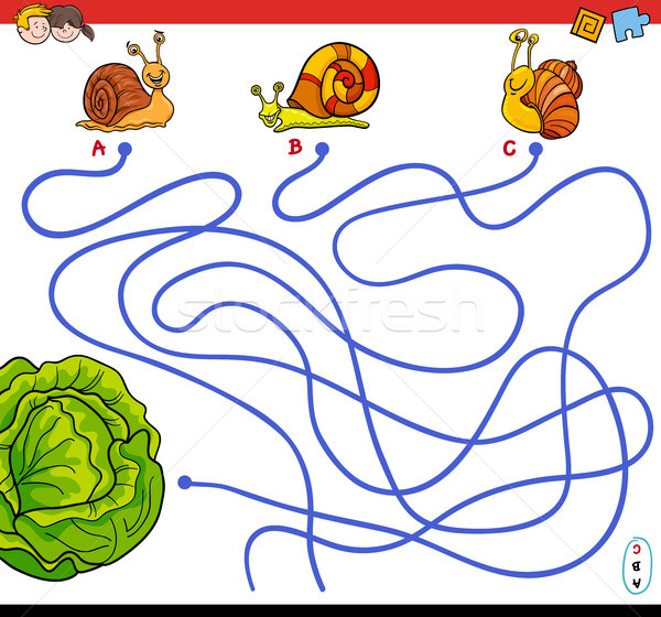 cartoon paths maze game with snails and lettuce Stock photo © izakowski