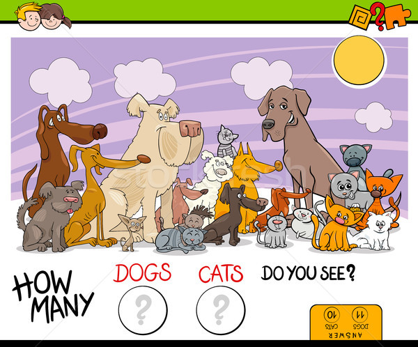 counting dogs and cats activity game Stock photo © izakowski