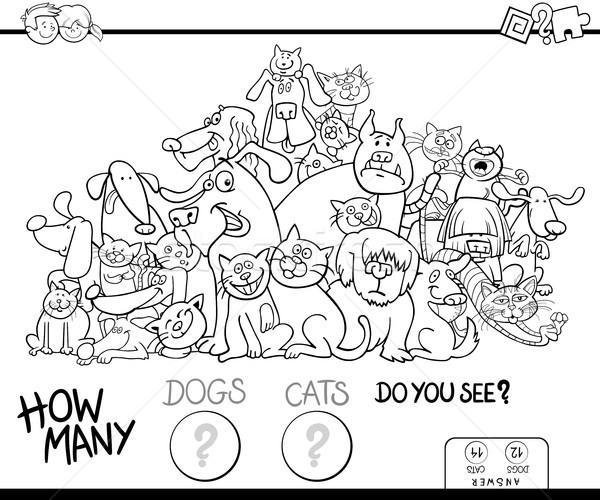 Pisici Câini Joc Culoare Carte Negru Alb