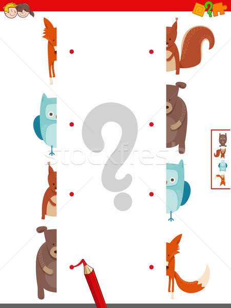 join halves of animals pictures activity game Stock photo © izakowski