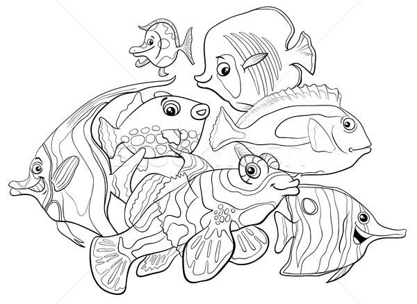 Tropikal Balık Hayvan Boyama Kitabı Siyah Beyaz
