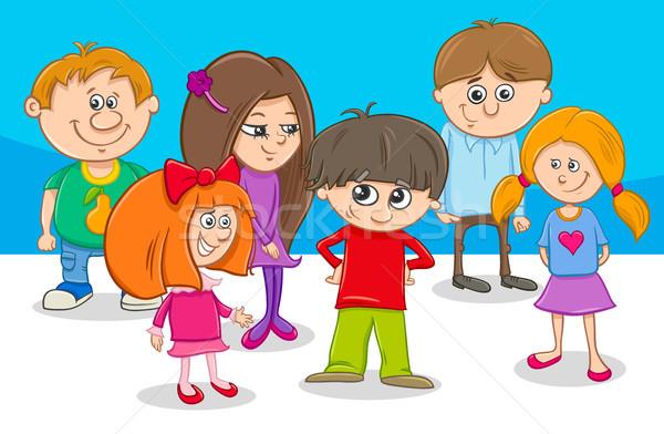 kid characters group cartoon illustration Stock photo © izakowski