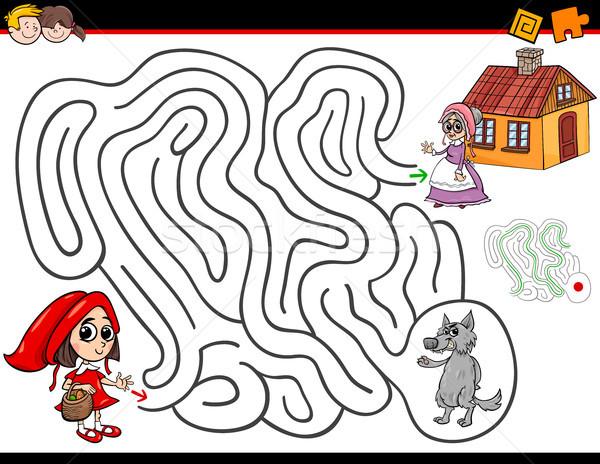 Cartoon labirynt działalność mały czerwony jazda konna Zdjęcia stock © izakowski