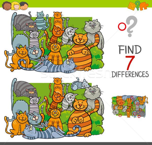 find differences with cats animal characters Stock photo © izakowski