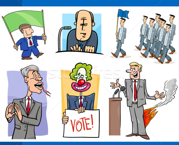 set of politics and politician cartoon concepts Stock photo © izakowski