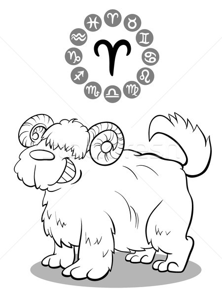 cartoon dog as Aries Zodiac sign Stock photo © izakowski