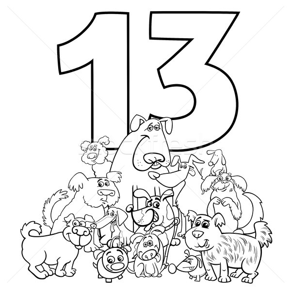 number thirteen and funny dogs group Stock photo © izakowski