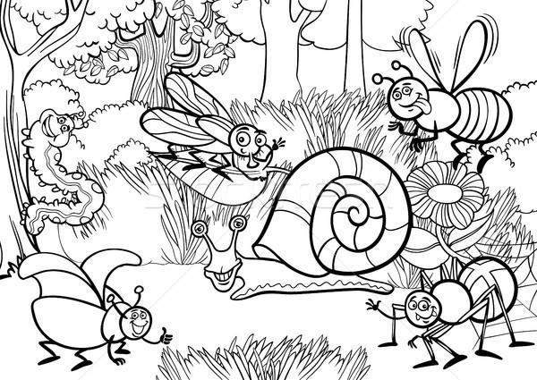 Desen Animat Insecte Carte De Colorat Negru